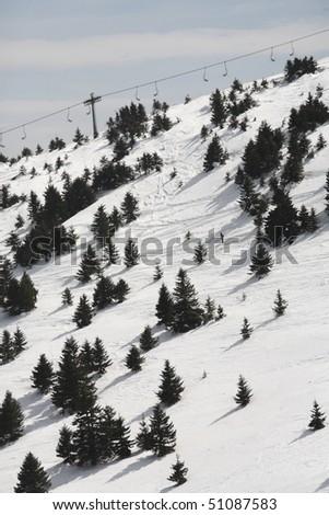 Steep ski slope on Kopaonik - stock photo