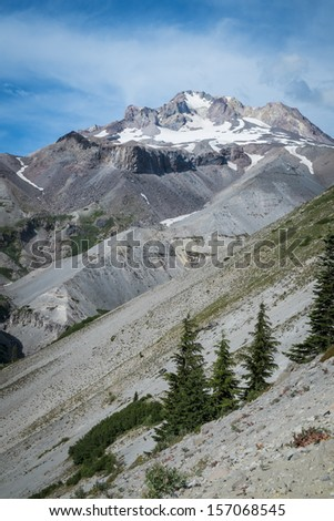Steep slopes on Mt. Hood in the cascade range of Oregon - stock photo