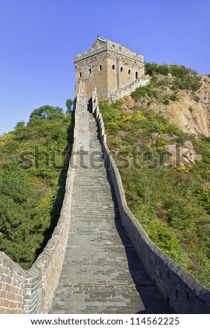 Steep staircase to a watchtower at Jinshanling Great Wall, 120 KM northeast from Beijing. - stock photo
