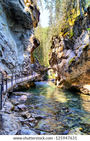 Steep valley in Johnston Canyon, Banff National Park, Canada - stock photo