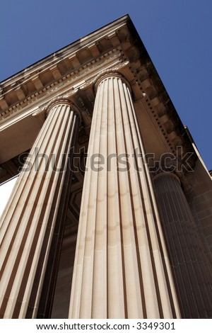 Steep View Of Classical Columns, Pillar, Architecture, Building, Roof - stock photo