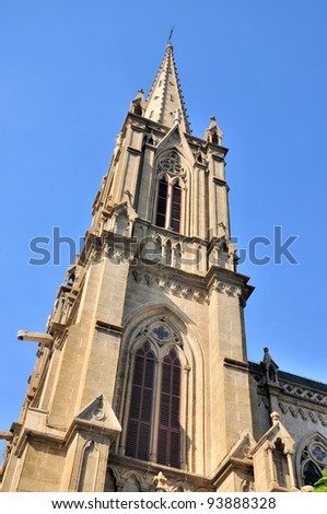 Steeple of Catholic church in gothic style