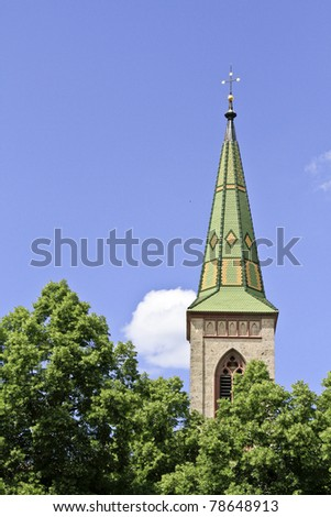 Steeple with mosaic roof