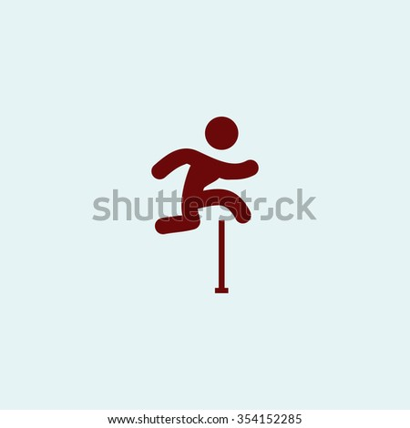 Steeplechase Red flat icon. Simple illustration pictogram - stock photo