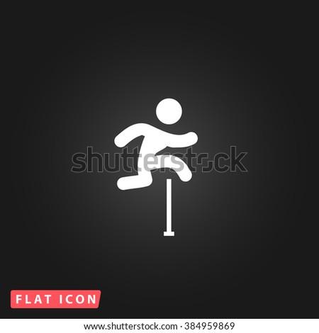 Steeplechase White flat icon on dark background. Simple illustration pictogram - stock photo