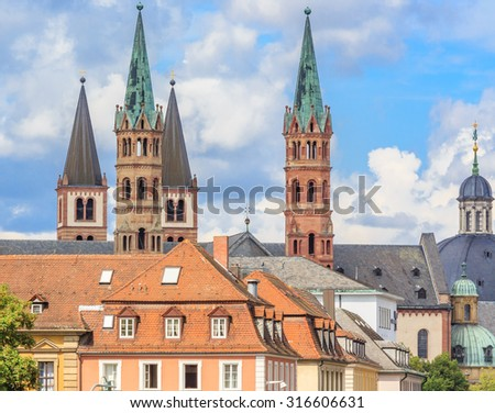 Steeples and spires of churches in Wurzburg, Germany - stock photo