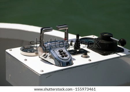 Steer and compass on sailing boat  - stock photo