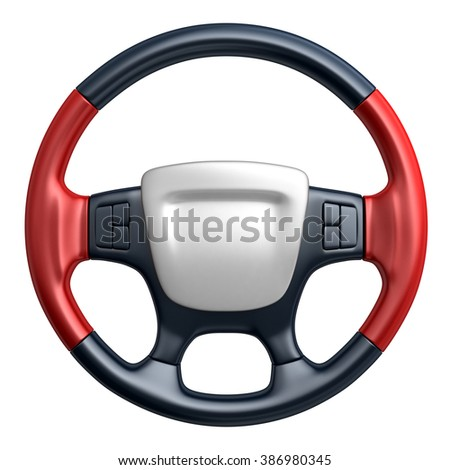 Steering wheel car (done in 3d, isolated)  - stock photo
