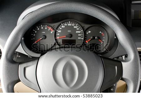 Steering wheel close up - stock photo