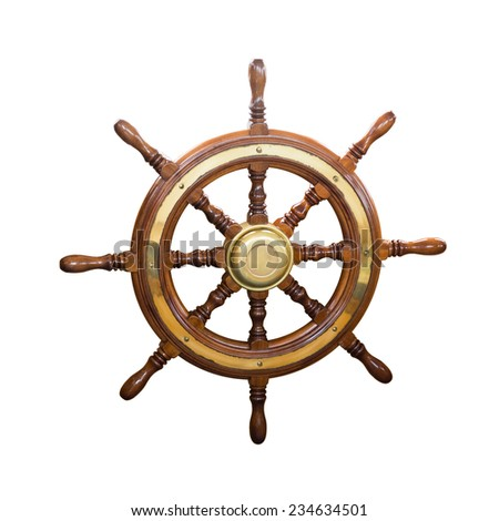 steering wheel of  boat. Isolated over white background - stock photo