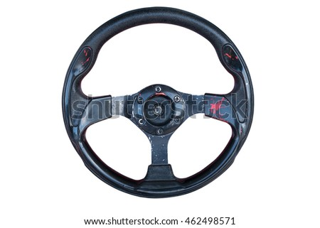 Steering wheel of game isolated with clipping path