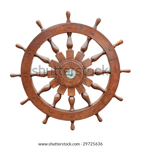 Steering wheel of sailing boat isolated on white background with clipping path - stock photo