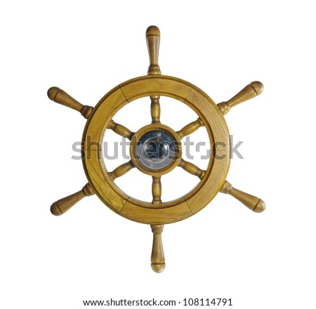 steering wheel of sailing-ship on a white background - stock photo