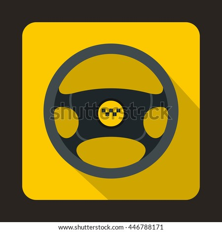 Steering wheel of taxi icon in flat style with long shadow. Car symbol
