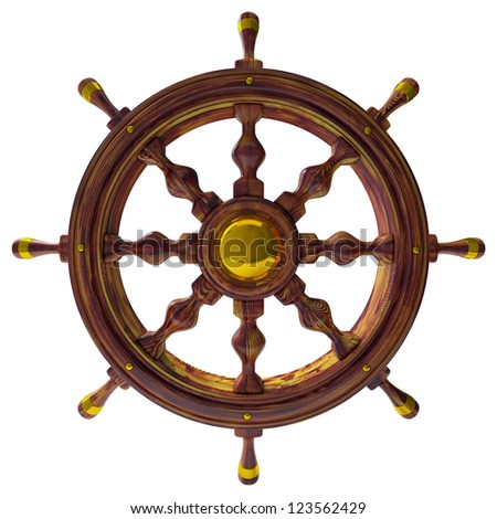 Steering wheel of the sea ship isolated 3d - stock photo