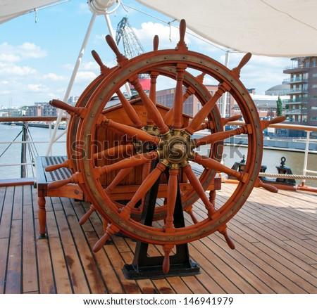Steering wheel of the ship  - stock photo