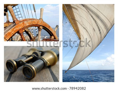 Steering wheel of the ship / Sails and the sea - stock photo