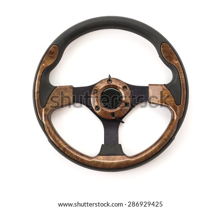 steering wheel on white background - stock photo