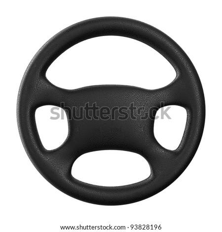 Steering wheel on white background. Isolated 3D image - stock photo