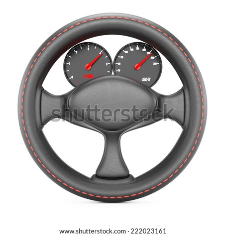 Steering wheel with dashboard isolated on white background. 3d rendering image - stock photo