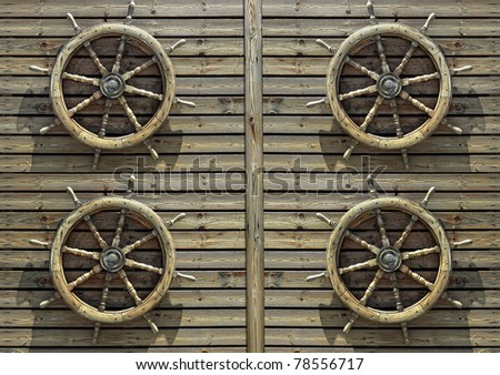 Steering wheels of the ship on a wooden wall of restaurant in marina of Tel-Aviv (Israel) - stock photo