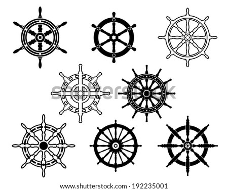 Steering wheels set for heraldry design isolated on white background. Vector version also available in gallery - stock photo