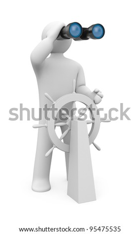 Steersman. Image contain clipping path - stock photo