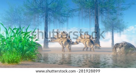 Stegosaurus Morning - A Jurassic misty morning finds a pair of Stegosaurus herbivorous dinosaurs walking near a pond. - stock photo