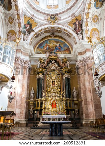 STEINGADEN, GERMANY - OCTOBER 22: Interior of Wieskirche church show fresco painting on October 22, 2013 in Steingaden. Wieskirche is an oval rococo church, designed in the late 1740s. - stock photo