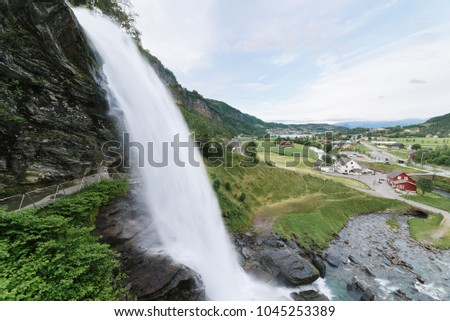 Steinsdalsfossen - one of the most popular waterfalls in Norway. Along National Tourist Route Hardanger