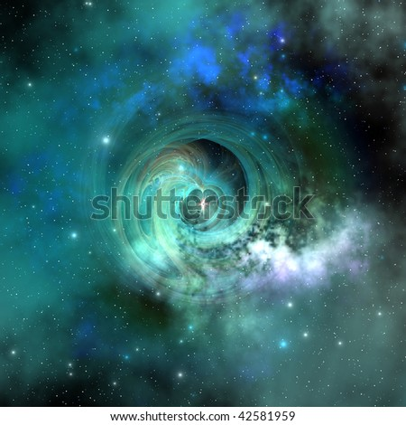 STELLAR MATTER - A gorgeous nebula out in space has many stars. - stock photo