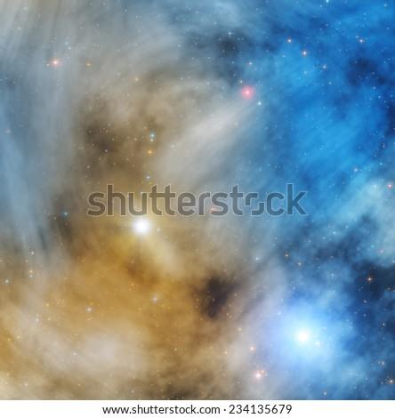 Stellar nebulosity in deep space. - stock photo