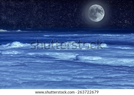 Stellar sky and moon. - stock photo