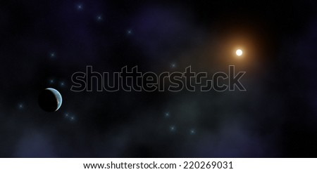Stellar system in the distant universe. - stock photo