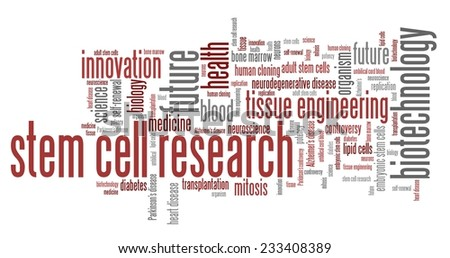 Stem cell research social issues and concepts word cloud illustration. Word collage concept. - stock photo