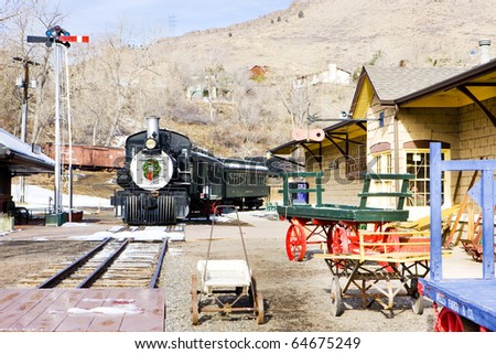 stem locomotive in Colorado Railroad Museum, USA - stock photo