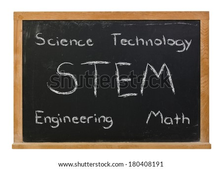 STEM science technology engineering math written in white chalk on a black chalkboard isolated on white - stock photo