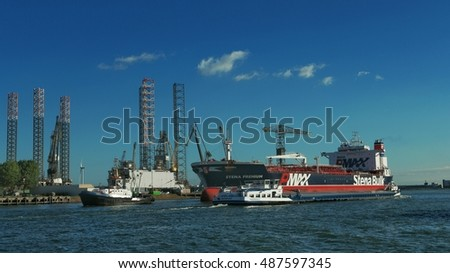 Stena bulk tanker entering the Harbor of Rotterdam Botlek, Netherlands September 2016