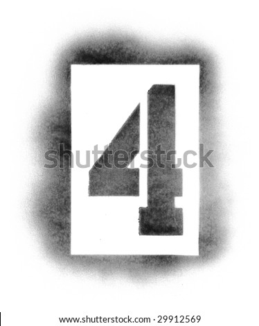 Stencil numbers in spray paint - stock photo
