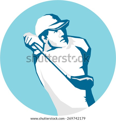 Stencil style illustration of a golfer playing golf swinging club teeing off set inside circle on isolated background. - stock photo