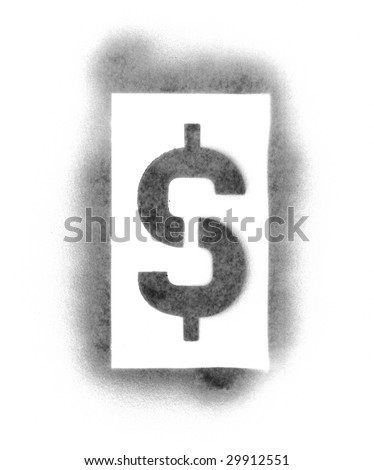 Stencil symbols in spray paint - dollar - stock photo