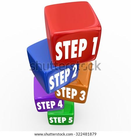 Step 1, 2, 3, 4 and 5 numbers on blocks or cubes  to illustrate instructions, guidance or priorities to follow - stock photo