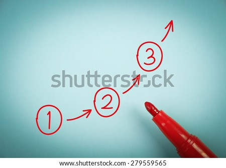 Stock Photo Step By Step Concept Is On Blue Paper With A Red Marker Aside on Polka Steps Diagram