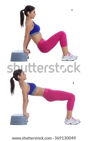 Step by step instructions: Stepper - reverse plank hip lift - stock photo