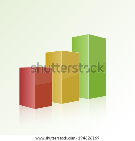 Step by step multi-colored chart with positive growth. Volumetric isolated figure, template for design, web, reports, and presentations. raster version - stock photo