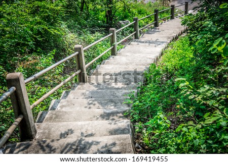Step down to stone stair - stock photo