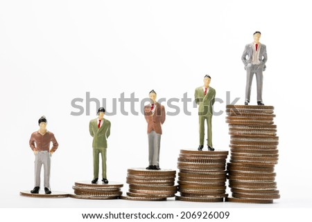 Step growing money graph with businessman stand on top side of money coin - stock photo