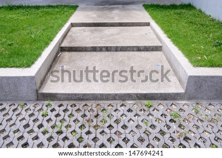 step in front of building - stock photo