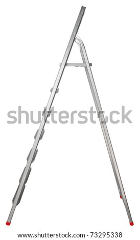 Step-ladder with seven steps isolated on white background. Clipping path included. - stock photo