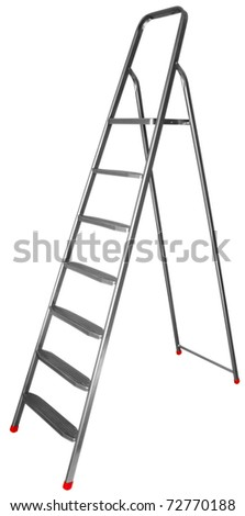 Step-ladder with seven steps isolated on white background. Clipping path includes. - stock photo